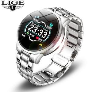 Image 1 - LIGE موضة جديدة ساعة ذكية الرجال LED متعددة الوظائف الرياضة ساعة ذكية لنظام أندرويد ios مقاوم للماء جهاز تعقب للياقة البدنية smartwatch