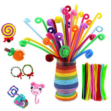 200/300pcs Creative Colorful DIY Plush Chenille Sticks Chenille Stem Pipe Cleaner Stems Toy Art Crafts Supplies of Kids Handmade 100pcs chenille wire plush chenille stems iron wire diy art craft sticks party decor pipe cleaner 6mm x 12inch assorted colors