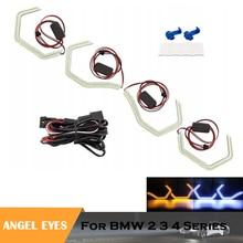 цена на LED Crystal ICONIC M4 styling crystal angel eyes DRL headlights kits for BMW M4 F80 F81 F82 F83 F30 F31 F32 F34 M2 car lamps