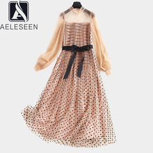 AELESEEN Runway Dots Dress Women 2020 Spring Autumn Long Lantern Sleeve See through Belt Mesh Party Long Pleated Dress Vestidos