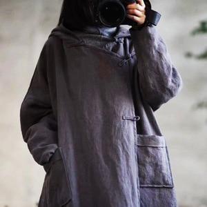Image 3 - Warme Dicke Parkas Mit Kapuze Frauen Winter Neue 2019 Baumwolle Leinen Taschen Baumwolle gefütterte Warme Kleidung Frauen YoYiKamomo