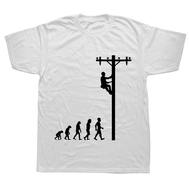Evolution Of Lineman Funny Electrician T Shirt Gift
