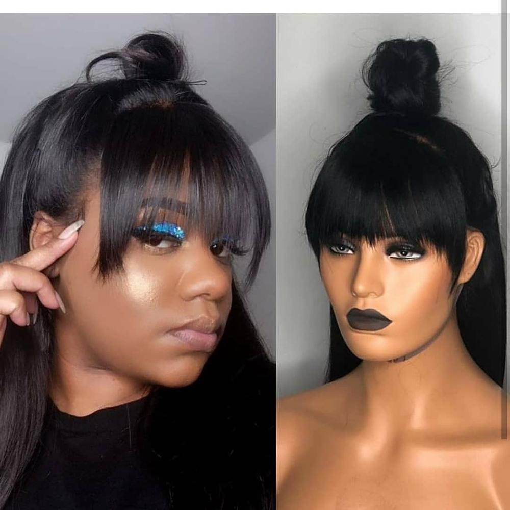 13 6 Deep Part Lace Front Human Hair Wigs Straight Human Hair Wigs with Bangs Pre