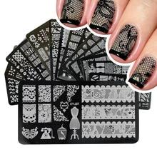 1pcs נייל עיצובים תחרה Stamping צלחות תמונת נירוסטה נייל אמנות תבנית פולני ציור מניקור סטנסיל כלים BEXYJ01 16