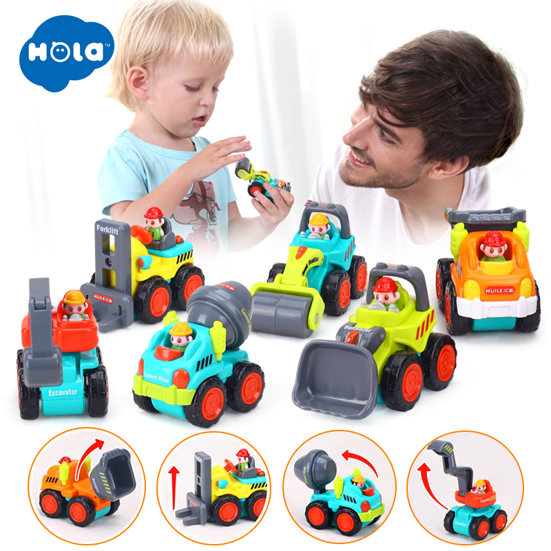 HOLA 3116C 6 Pieces Mini Construction Vehicles Toy Trucks Set Toys Car For Kids Boy Pull Back Car Toy For Children Birthday Gift