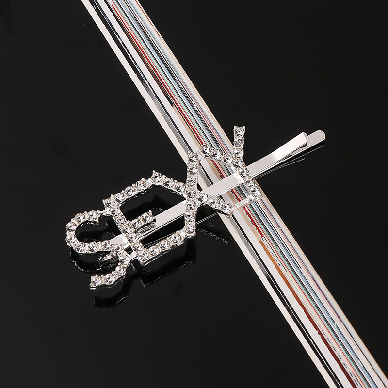 33 Style Headwear For Women Letter Hair Clip Girls Hair Accessories Fashion Charm Cute Rhinestone Gold Silver