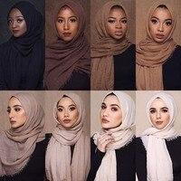 Feminino muçulmano crinkle hijab lenço macio algodão lenço islâmico hijab cor sólida xales envoltórios