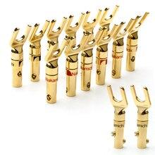 12個ナカミチバナナプラグ、金メッキ銅y型スピーカー男性プラグアダプタバナナプラグワイヤーケーブルコネクタ