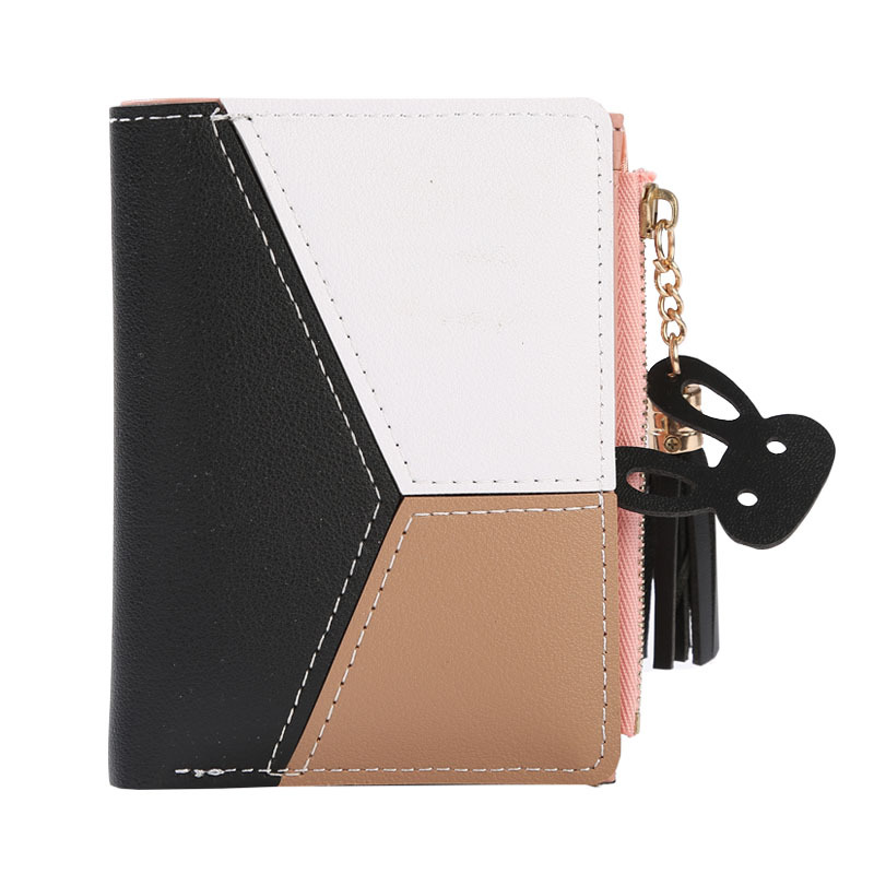Новинка, короткие женские бумажники, кошелек на молнии, модные кошельки с вставками, трендовые Кошельки для монет, держатель для карт, кожа