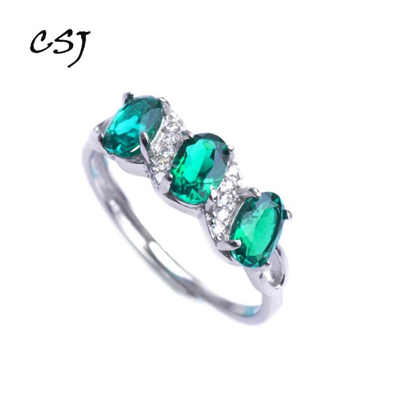 CSJ 11.11 créé anneaux émeraude moderne élégant réel 925 argent sterling oval4 * 6mm coupe bijoux fins pour les femmes cadeau de fiançailles