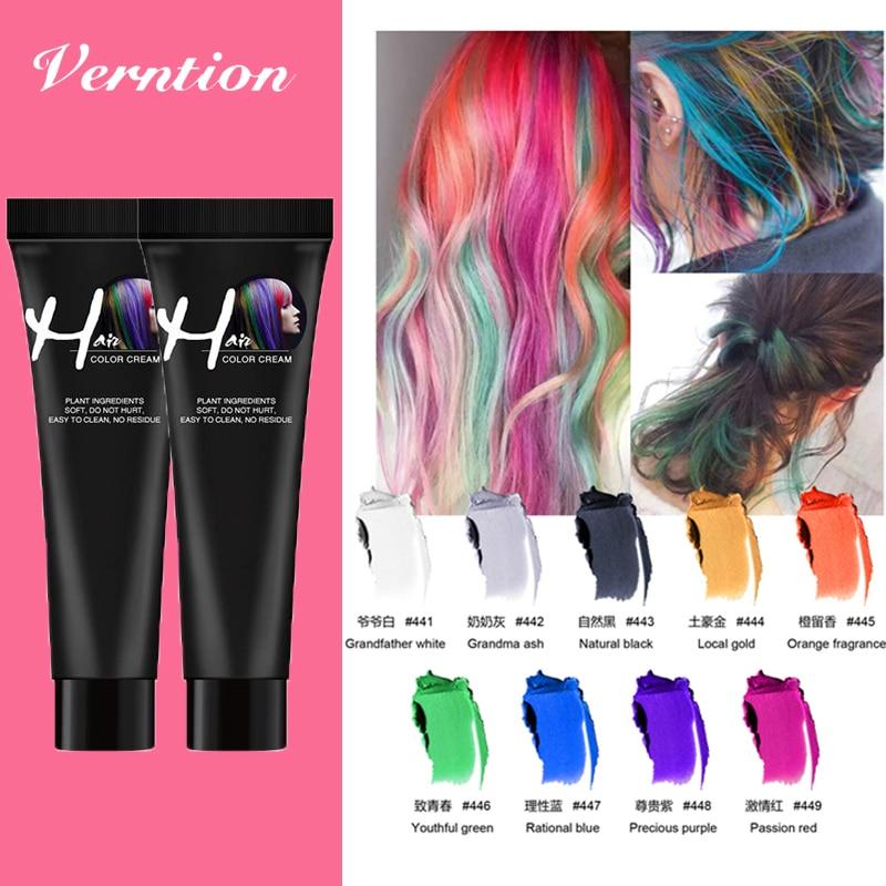 Verntion Temporary Fashion Grey Hair Dye Permanent DIY Hair Color Wax Hair Colour Temporary Cream Gel Styling Unisex Hair Dye