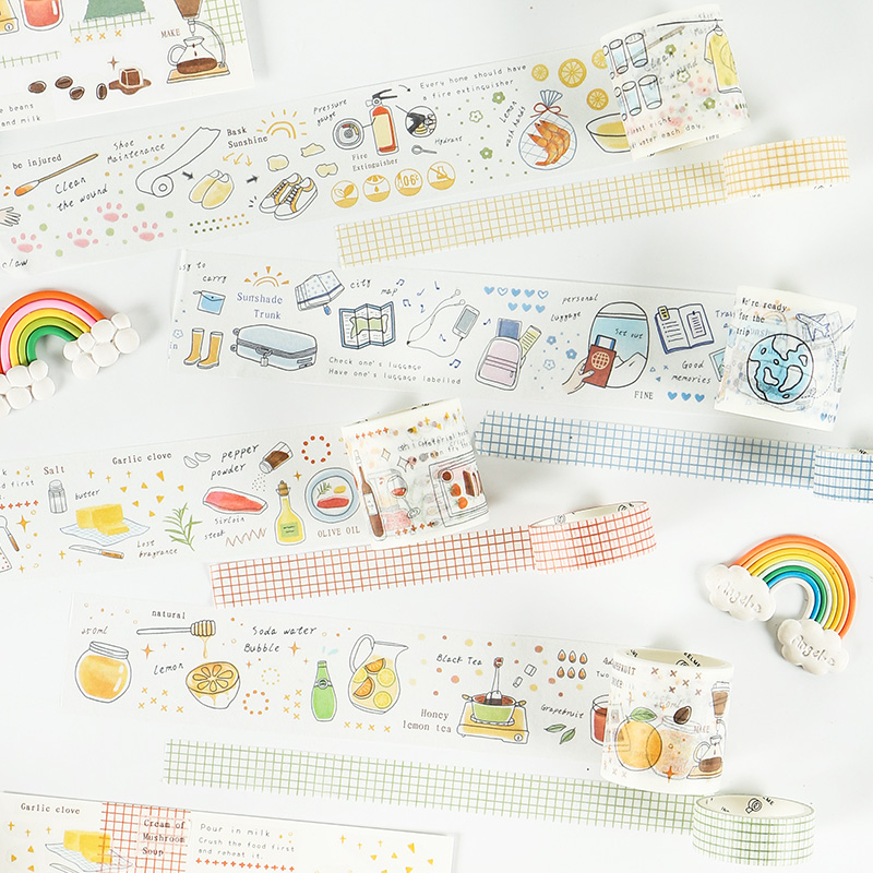 Mohamm Life Series Cute Kawaii Vegetables Cook Diary Stationary Flakes Washi Masking Scrapbook Decorative Sticky Tape