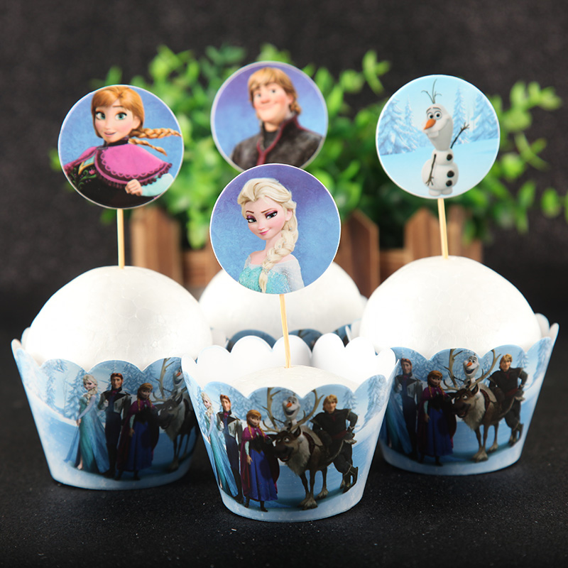 24pcs/lot Frozen princess 12pcs Cake Topper Wrappers Girls Happy Birthday Party paper cake tool decor supplies party favors