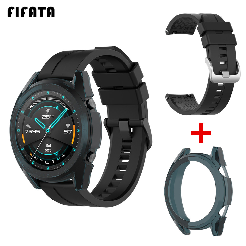 FIFATA Silicone Band+TPU Case 2in1 For Huawei Watch GT 2/GT Wrist Bracelet For GT2 GT 46/42mm Smart Watch Strap Protector Cover