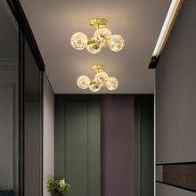 Lustre nordique doré boule de verre plafonnier de luxe gypsophile Lustre pour chambre couloir allée décoration luminaire