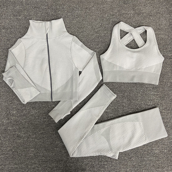 2/3PCS Seamless Women Yoga Set Workout Sportswear Gym Clothing Fitness Long Sleeve Crop Top High Waist Leggings Sports Suits 11