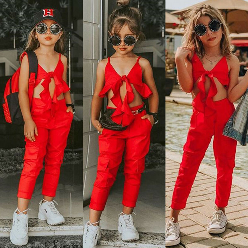 2-7 Years Toddler Kids Baby Girl Clothes 2020 Solid Red Sling Tops Vest Long Pants Girls Outfits Kids Girls Summer Clothes Set