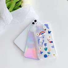 butterfly  bear Soft TPU Cover Phone Case For iPhone 11 Pro X Case Transparent Phone Case Camera Protective Soft TPU Cover