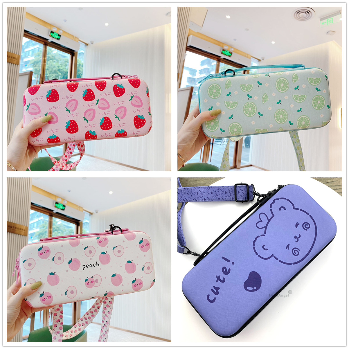 Cute Girls Storage Bag 12cm*26cm*5cm Protective Carrying Portable Case for Nintendo Switch Game Accessori with Adjusted Lanyard