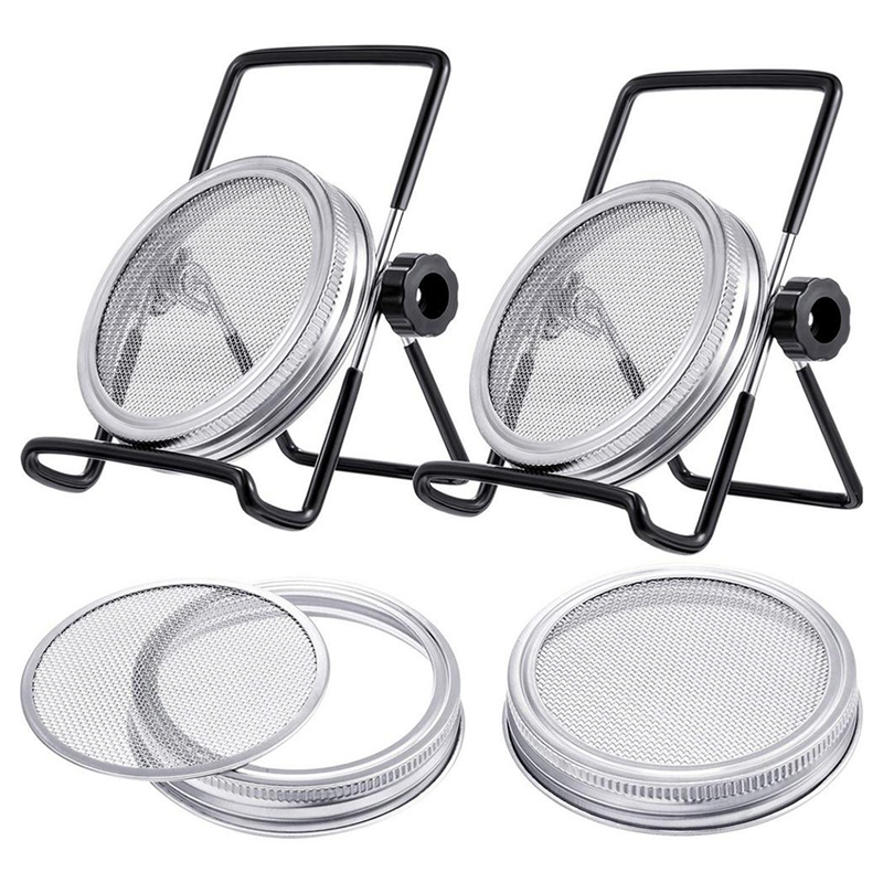 Germination Germination Cover Kit Sprouting Mason Jar 6 Pack Stainless Steel Sprouting Rack Wide Mouth Mason Jar