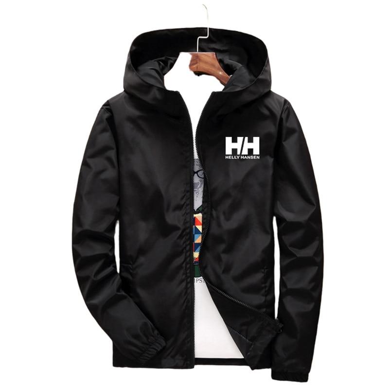 Куртка мужская с принтом логотипа, ветровка с капюшоном, тонкая модная повседневная верхняя одежда на молнии, весна-лето, 7XL