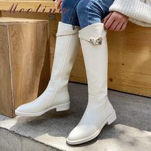 Женские сапоги на среднем каблуке meotina до колена из натуральной