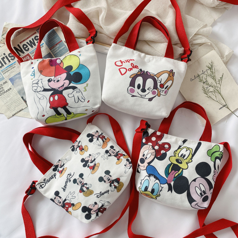 Disney's New Children's Canvas Bag Fashion Baby Cartoon Mickey Bag Handbag Boy Girls Pupils Cute Shoulder Messenger Bag