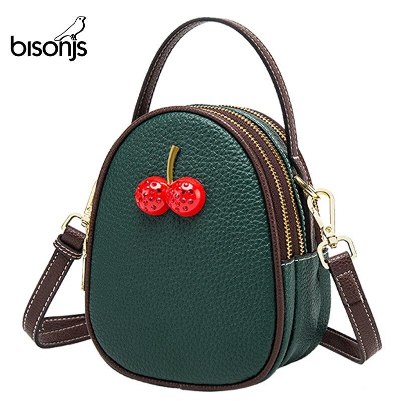 BISONJS Leather Luxury Handbags Women Bags Designer Large Capacity Female Shoulder Bag Cherry Crossbody Bag B1710