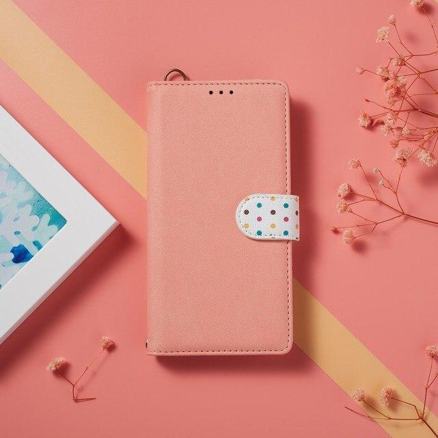Étui en cuir pour Honor 9X Premium 20S 10i 8X View 20 Pro 10 Lite à pois mignon étui à rabat pour Huawei P30 Lite Pro