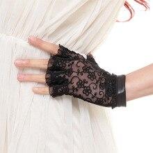 Half-Finger Gloves Sheepskin Sexy Fashion Genuine-Leather Lace Lightweight Women Stitching