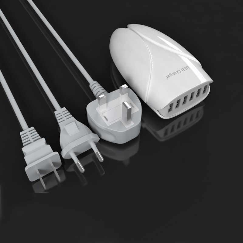 6 porty przenośny koncentrator USB pulpit ściany ładowarka ue/US/UK zasilacz wtyczka gniazda ładowania rozszerzenie gniazdo z przełącznik