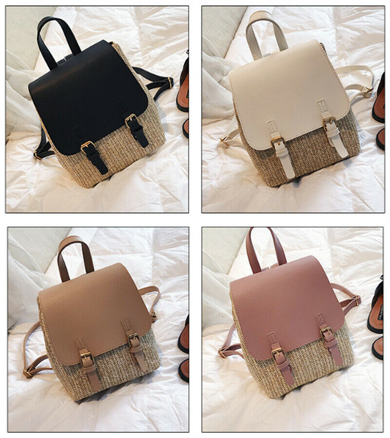 Women Backpack Leather+Straw Shoulder School Rucksack Lady Girls Travel Bag Trendy Backpacks