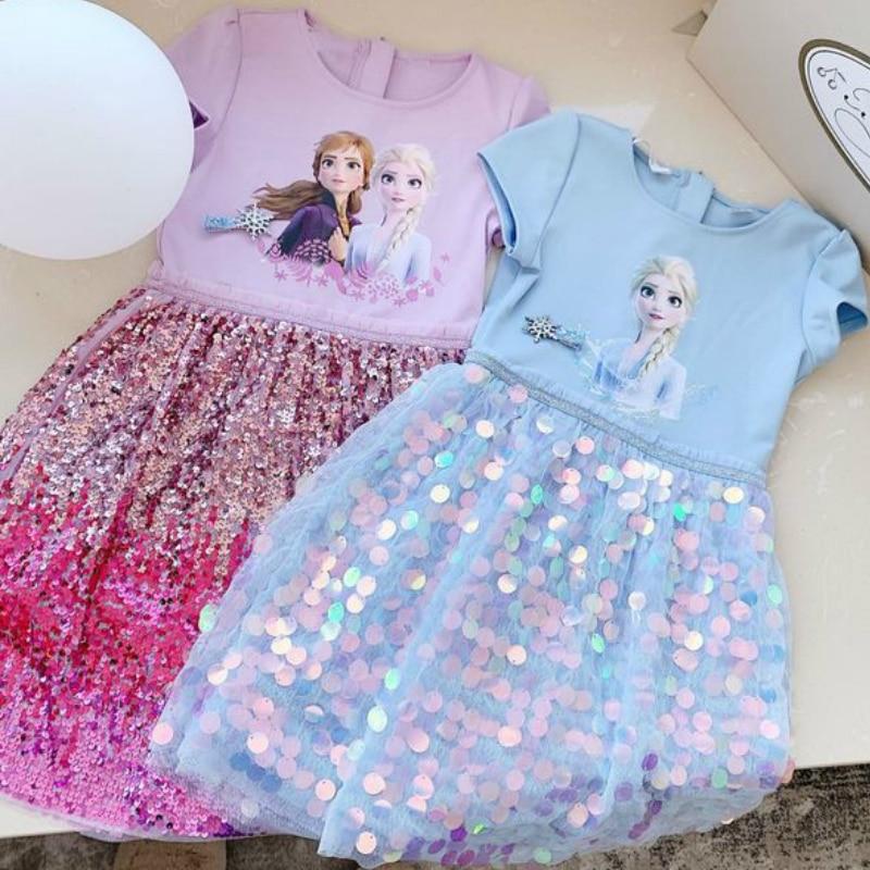 Kinder Kleid 2020 Neue Baumwolle Frühling und Sommer Gefrorene Mädchen Party Kleid Pailletten Prinzessin Kleid Kleinkind Mädchen Kleider
