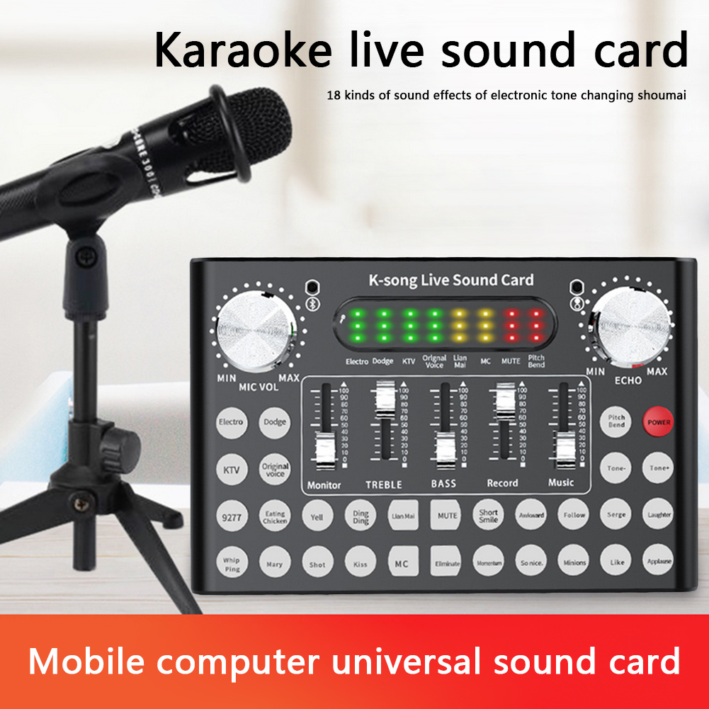 F9 Mobile Phone Microphone Live Sound Card 18 Sound Headset USB External Audio Interface Sound Card with Bluetooth for PC Phone