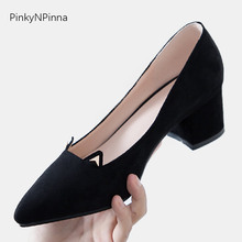 Sweet women black pumps flock pointed toe square high heels kitten ears front office party dress ladies shoes large size 43 42