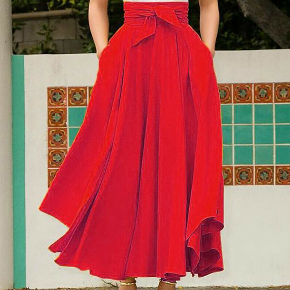 Autumn Winter Elegant High Waist Women Long Skirt Solid Pleated Faldas Mujer Female Solid Loose Jupe Femme Saia Longa
