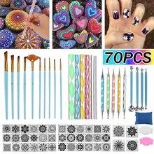 70 pçs mandala ferramentas de pintura estênceis diy pedra gravação starter desenho stylus canetas kit arte handwork decoração