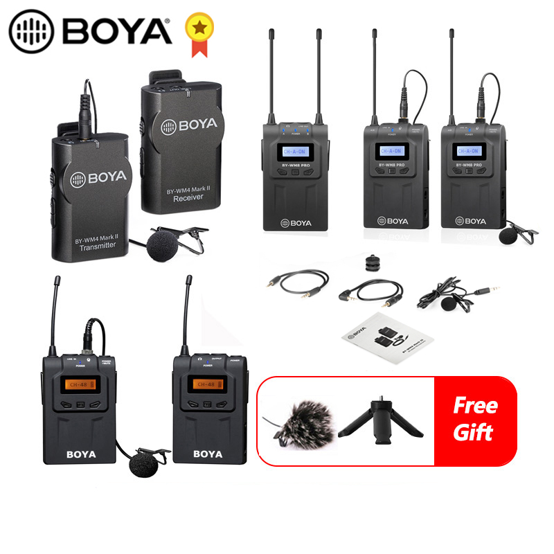 BOYA BY-WM4 Mark II BY-WM8 Pro UHF Wireless Microphone System Omni-directional Lavalier Microphone For DV DSLR Camera Smartphone