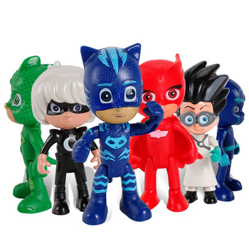 6PCS/SET PJ masks Cartoon Flexible limbs Character Toy Sports Catboy Owlette Gekko  Figures Anime Toys Gift For Children 2X99 death note anime character figures 8 piece set