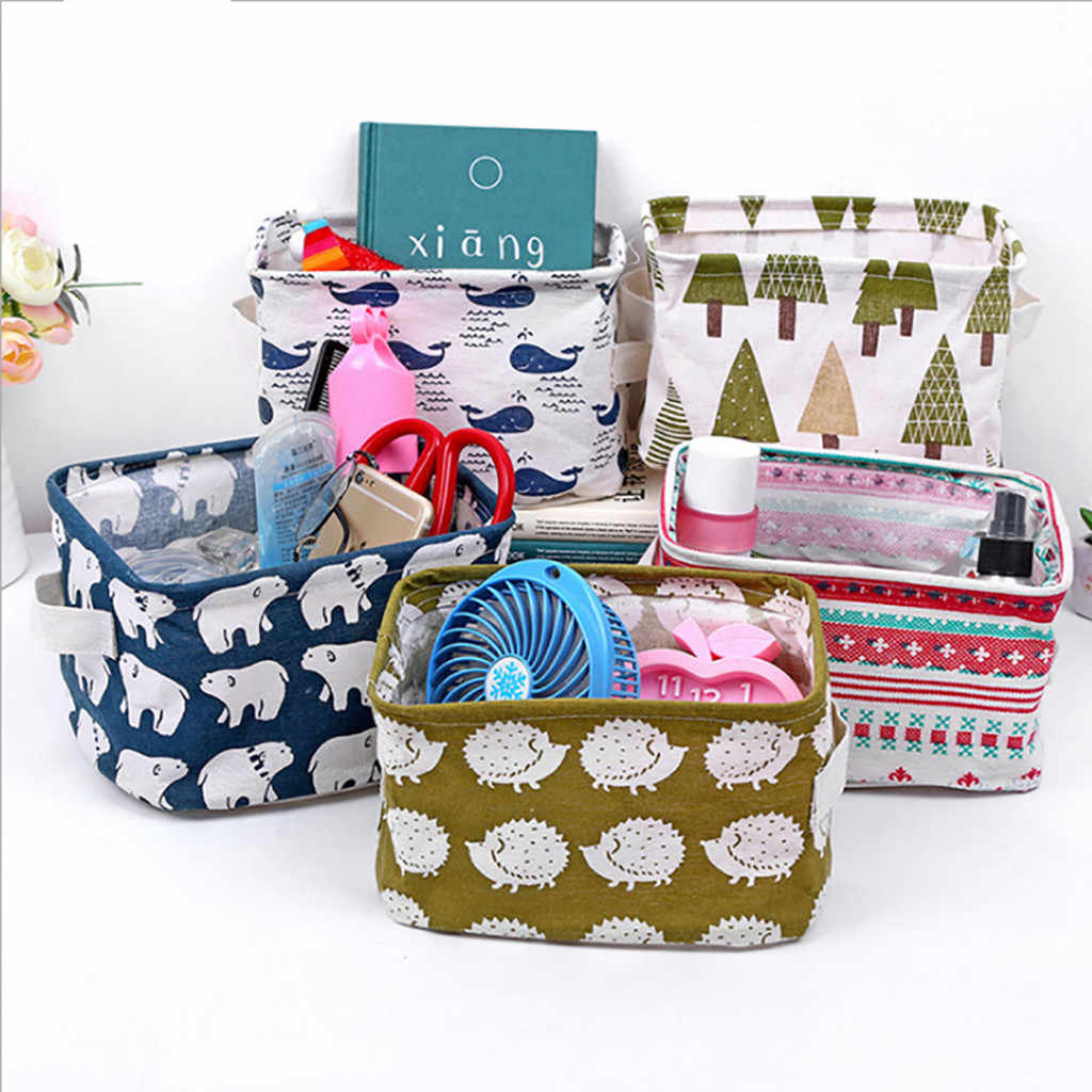 Canvas Fabric Foldable Basket Laundry Storage Baskets With Handles For Toys Handles Square Storage Bin Bucket For Home Toys
