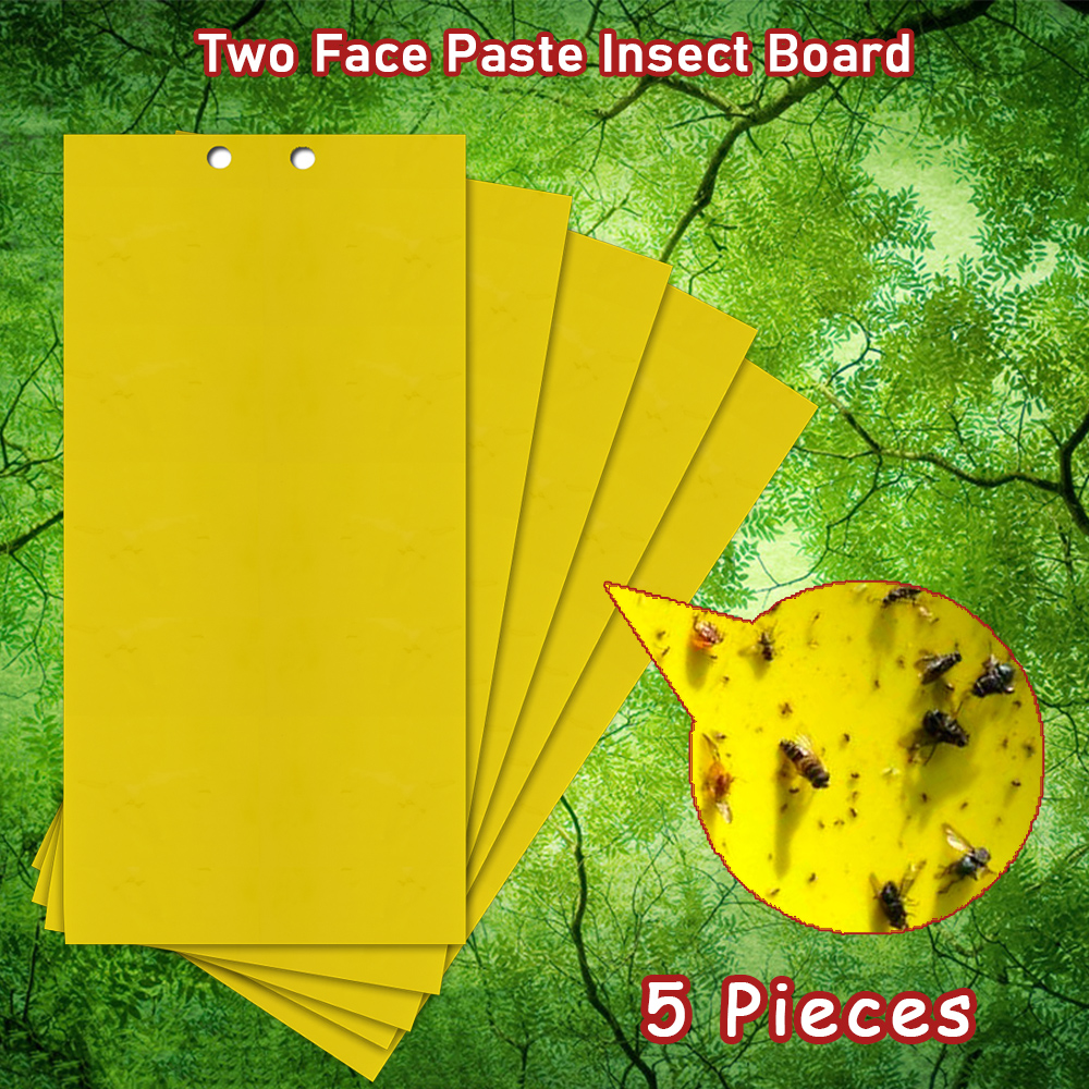 5pcs Two Face Paste Insect Board Double-sided Bug Fly Stickers Glue Board Adhesive Traps Yellow Sticky Insect Catcher Flycatcher
