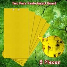 5 pçs placa de insetos de duas faces de pasta de rosto duplo-face bug fly adesivos placa de cola armadilhas adesivas amarelo pegajoso inseto catcher flycatcher