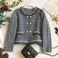 2019 New Autumn Winter Luxury Women short Plaid small fragrance Coats Office Fringed Tweed Jacket Female cc796