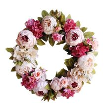 Artificial Peony Flower Wreath With Green Leaves For Front Door, Window, Wall, Wedding, Home Decor(China)