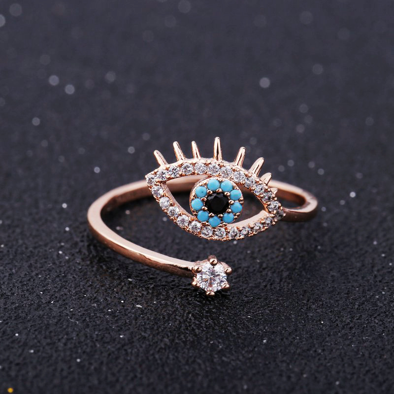 SIPENGJEL Tiny Trendy Cubic Zirconia green Eye Rings Rose Gold black eye Adjustable Rings For Women Girls Luxury Wedding Jewelry 1