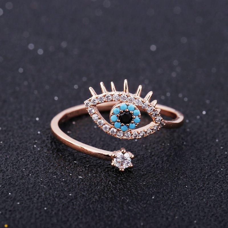 SIPENGJEL Tiny Trendy Zirkonia grün Auge Ringe Rose Gold schwarz auge Einstellbar Ringe Für Frauen Mädchen Luxus Hochzeit Schmuck