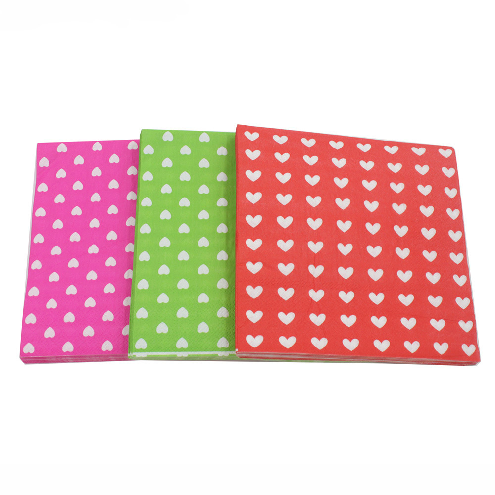 [Currently Available] Color Printed Napkin Small Love Creative Tissue Napkin RUYD-24