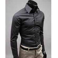 2019men camisa de manga longa moda dos homens camisas casuais algodão cor sólida negócios fino ajuste social masculino rd464