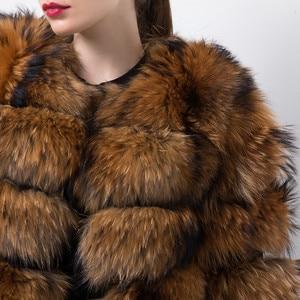 Image 5 - Розовый Java QC19102 Новое поступление Лидер продаж женские пальто с мехом из натурального меха енота меховая куртка толстые пальто с мехом короткое пальто мода