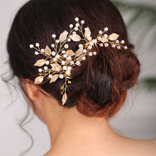 Bridal Hair pins for women Gold Headdress Vintage Pearl Hair comb Festival Bride to be